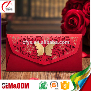 Elegant design custom traditional Chinese HongBao 2017 Chinese New Year gold foil red packet wedding red envelope