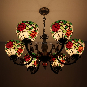 "8"" tiffany glass pendant lamp design and 6 lights for living room"