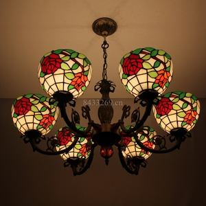 8inch tiffany glass pendant lamp design and 6 lights for living room