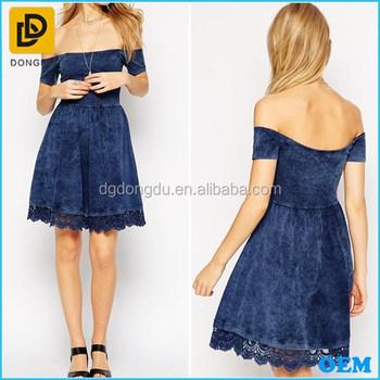 4aeee96c5e Fashion Off Shoulder Design Crochet Hem Skater Dress/denim Dress ...