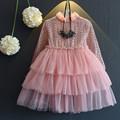 Spring Autumn Girls Sheer Dress Princess Birthday Party Wedding Rapunzel Dresses Pink Grey Children Stage Costume