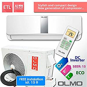 OLMO Alpic Ductless Mini Split Air Conditioner 12,000 BTU 115v/60hz, 16 SEER with 25' installation kit