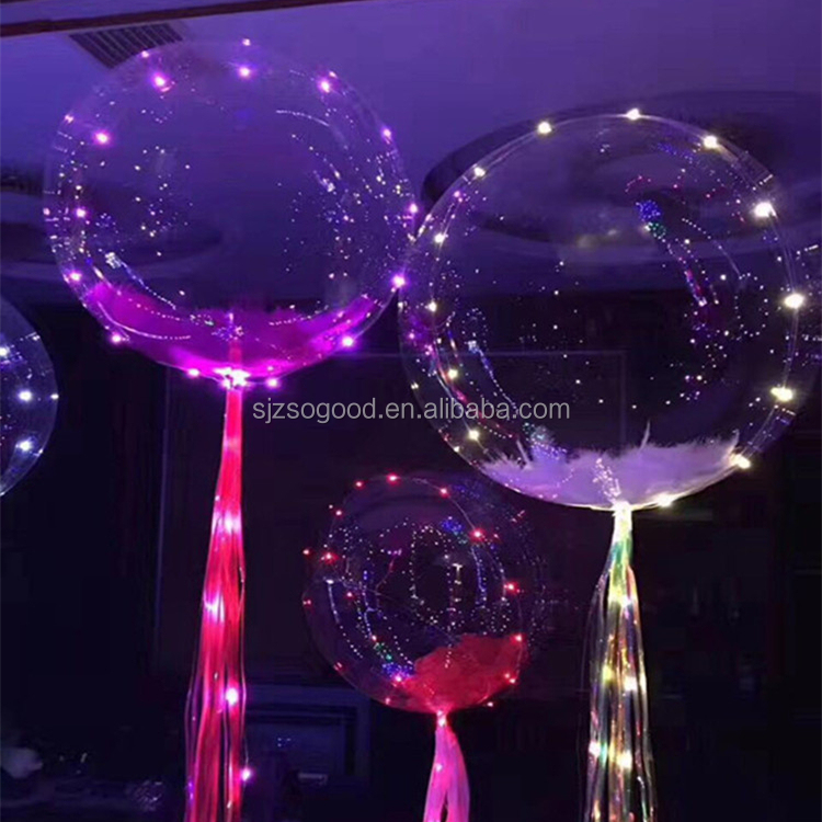 Hot Selling 3M Length Line Light Wave Balloon LED Lamp String Bubble Ball PVC Transparent Balloons