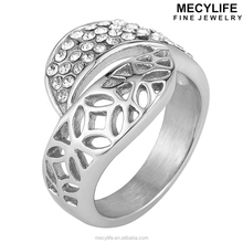 MECYLIFE new arrival zircon paved stainless steel split ring