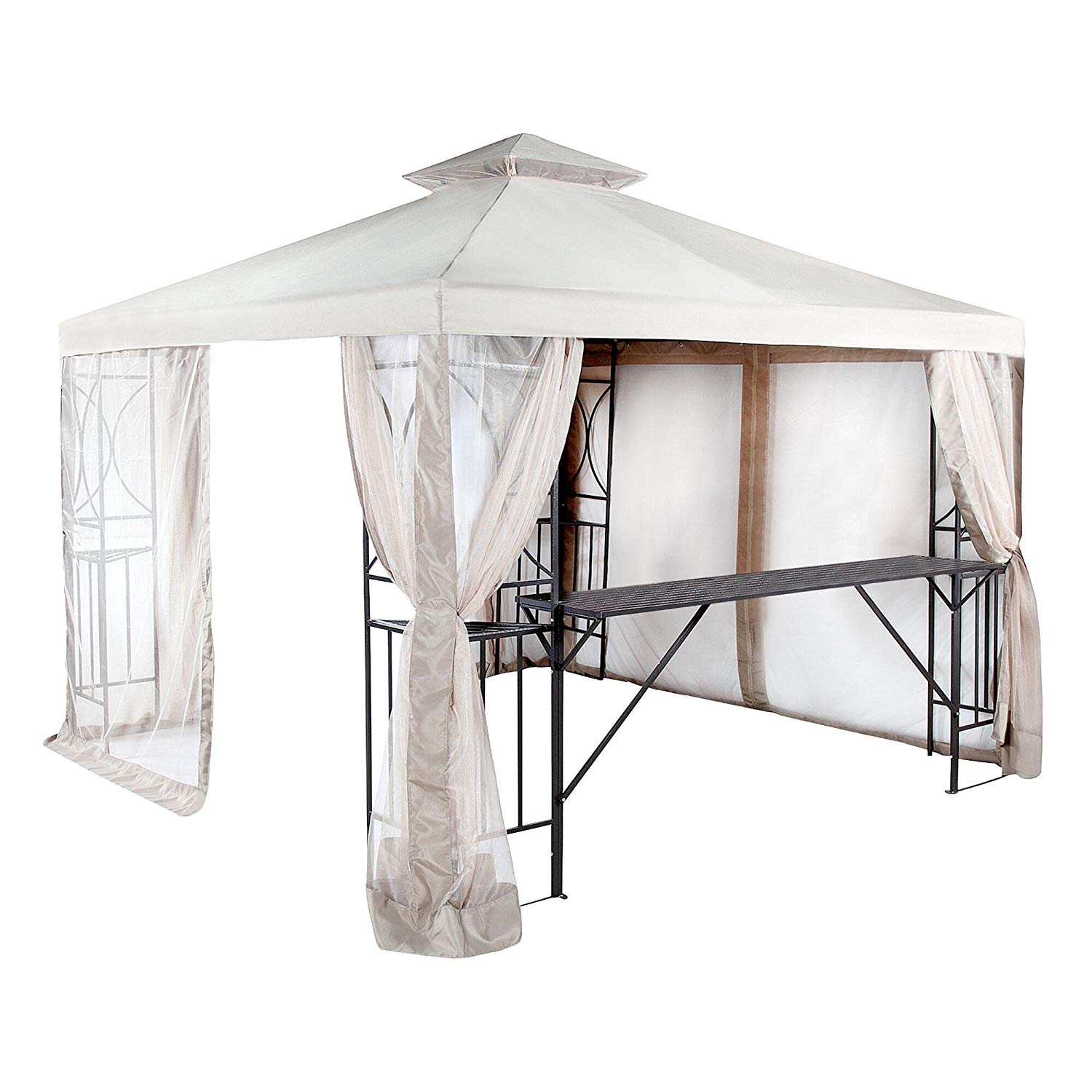 Garden Winds Replacement Canopy Top Cover and Netting for the 10x10 Crescent Gazebo - RipLock 350