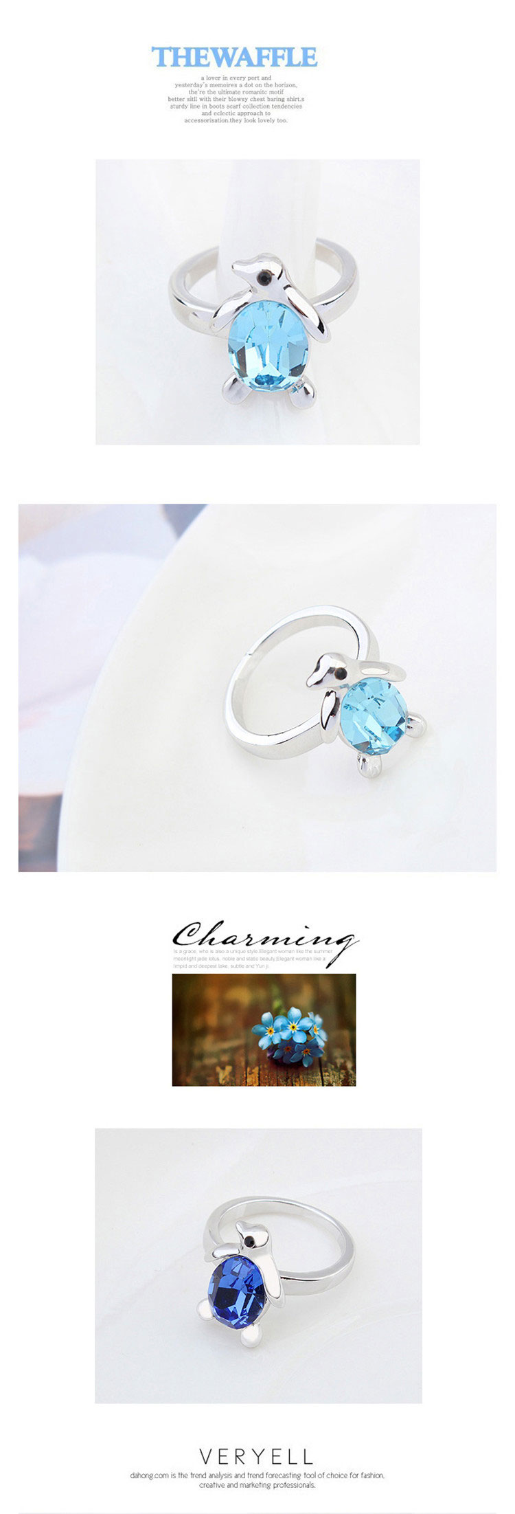 f09cd948a Cute Penguin Blue Stone Luxury Jewelry Ring Crystals From Swarovski ...