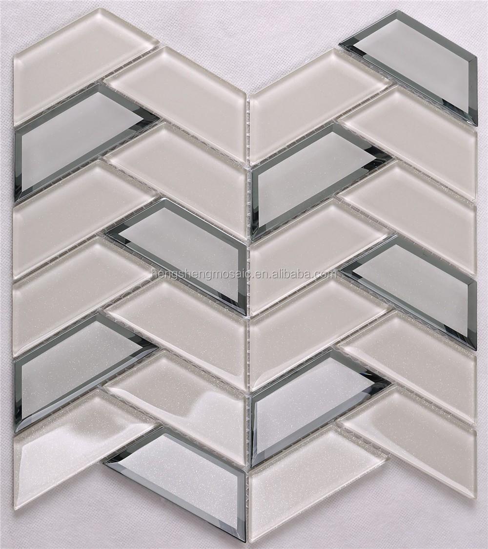 - 3d Beveled Mirror Glass Herringbone Mosaic Decorative Shower
