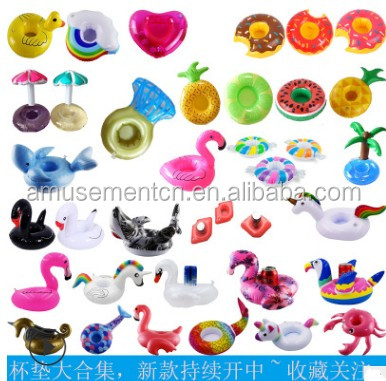 Free Sample Inflatable Drinks Holder For Beach Water Wedding Birthday Party Deco Inflatable Cup Coaster Mat drink holder for the фото