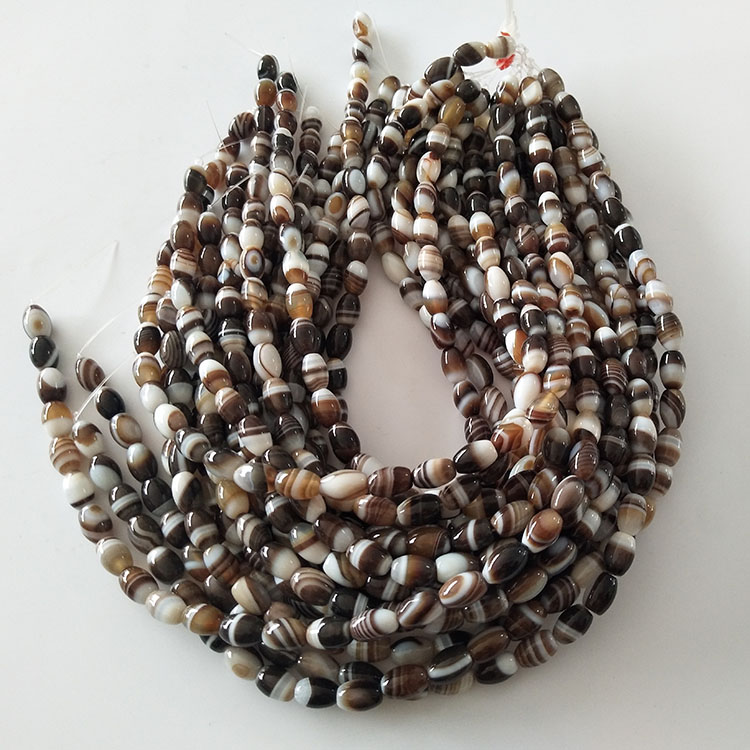 Gemstone Agate Natural Coffee Brown Color Seed Rice Loose Beads