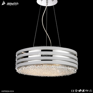 hot sale round crystal silver chain led light chandelier lighting