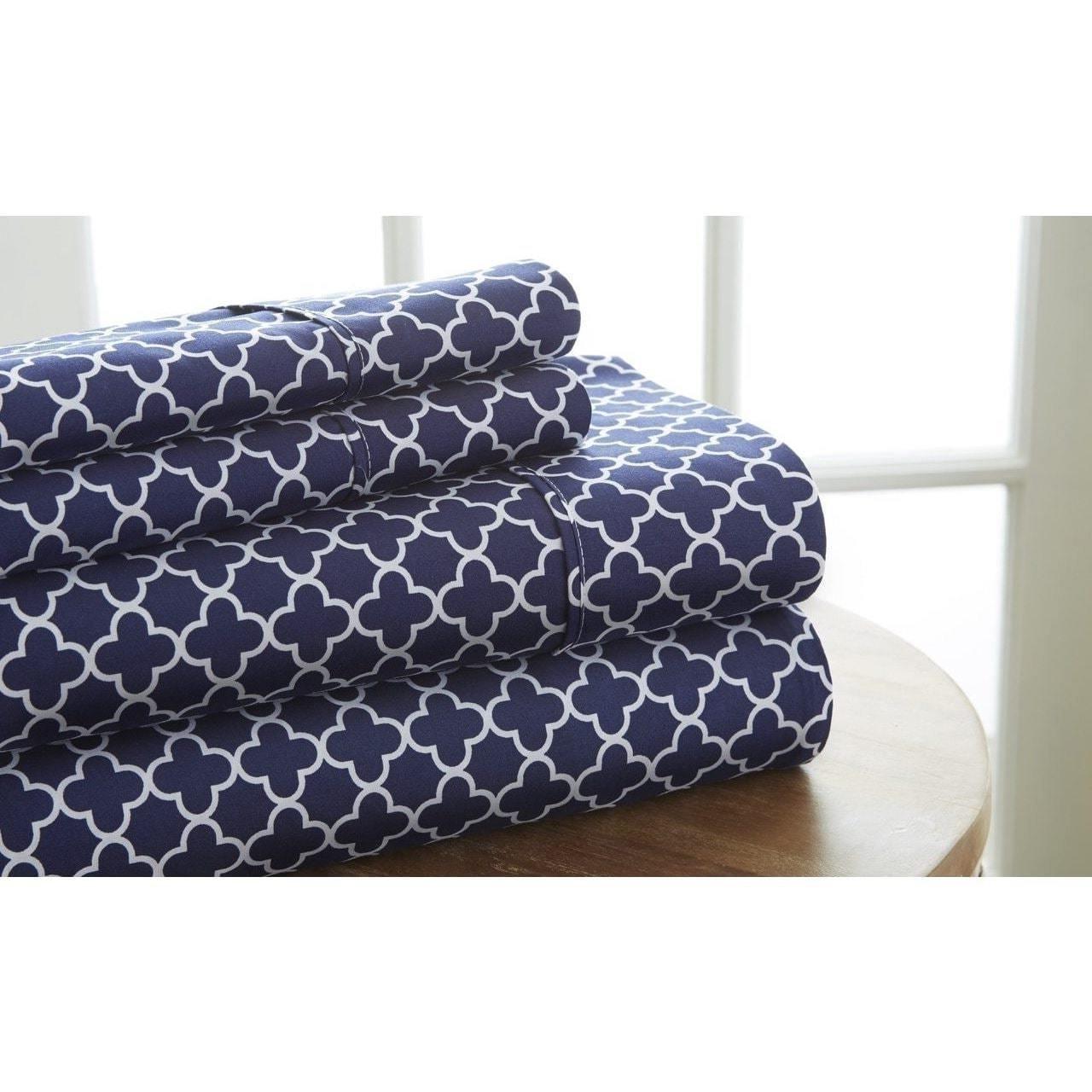 Du 4pc Girls Navy Blue Quatrefoil Queen Sheet Set, Microfiber Polyester, Deep Blue White Color Lattice Trellis Pattern Deep Pocket Design, Kids Bedding Modern Traditional Geometric Themed Teen