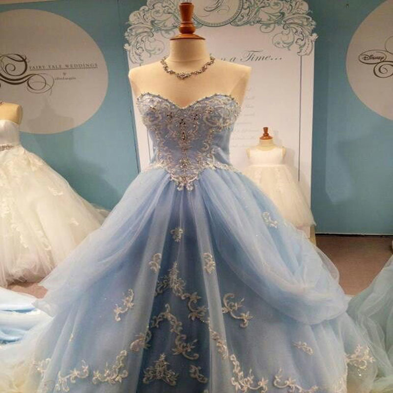 Latest Wedding Gowns 2015: Real Images New Elegant Light Blue Sweetheart Cinderella