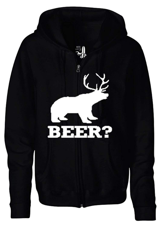 YM Wear Men's Bear? Deer? Its a Beer! Funny Novelty Zipper Hoodie Hooded Sweater