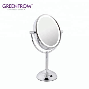 Double-Sided Oval 5x/1x Magnification Viewing LED Illuminated Makeup Standing Mirror