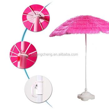 6ft Outsunny Portable Pink Tiki Thatch Beach Patio Umbrella