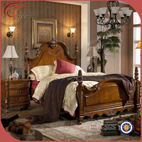 Antique wooden leather beds bedroom furniture/ Oak carved leather bed set A49