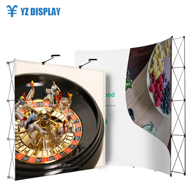 10Ft Portable Trade Show Booth Scarf <strong>Display</strong> Stand High Quality Popup Exhibition Advertising Back Wall