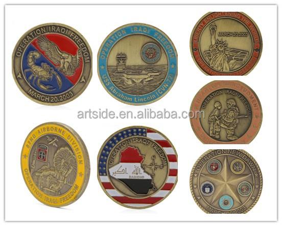 Wholesale 7 <strong>Designs</strong> Antique Bronzed Plated Saint George Operation Iraqi Freedom US Challenge Coins Collectiable
