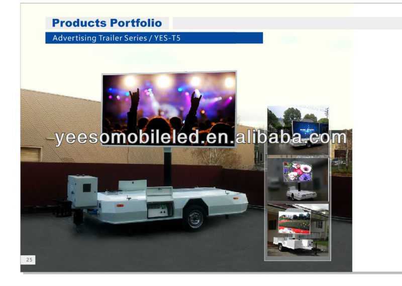 LED Video Display Trailer for rock concerts, political rallies, bike races live broadcast