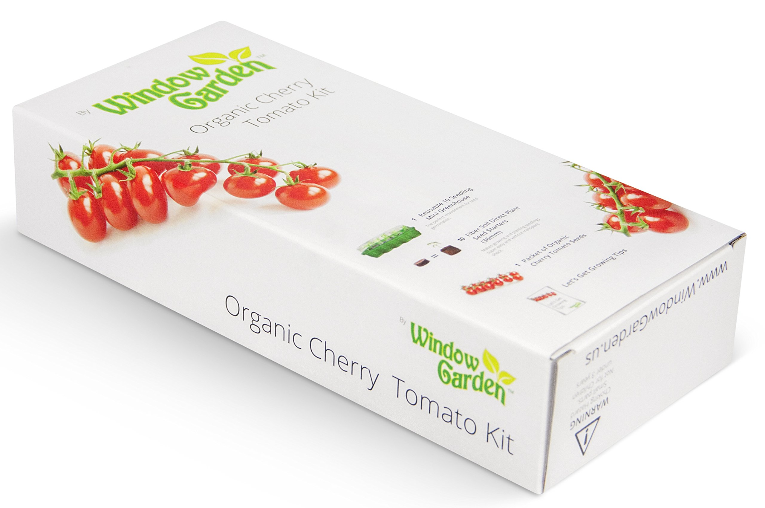 Window Garden Organic Cherry Tomato Grow Kit - Easy To Grow Vegetable Seed Kit, Includes a 10 Cavity Mini Greenhouse, Fiber Soil Seed Starters and Non GMO Organic Seeds. Great Gift for Anyone.