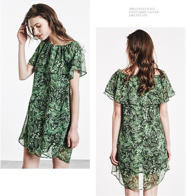 ca3c58751710 Women Summer Fashion Korean Style short Sleeve Dress Ladies Chiffon  Bohemian off shoulder dress