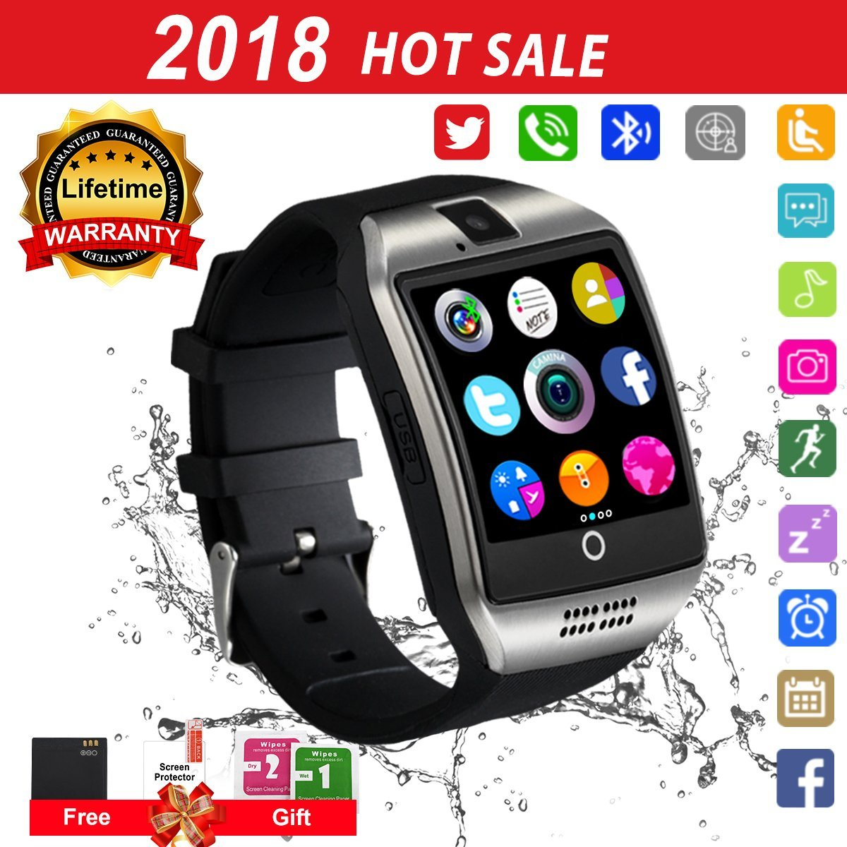 Bluetooth Smart Watch Touchscreen with Camera, Watch Cell Phone with Sim Card Slot,Smart Wrist Watch,Waterproof Smartwatch Phone for Android Samsung IOS Iphone 7 6S Men Women Kids