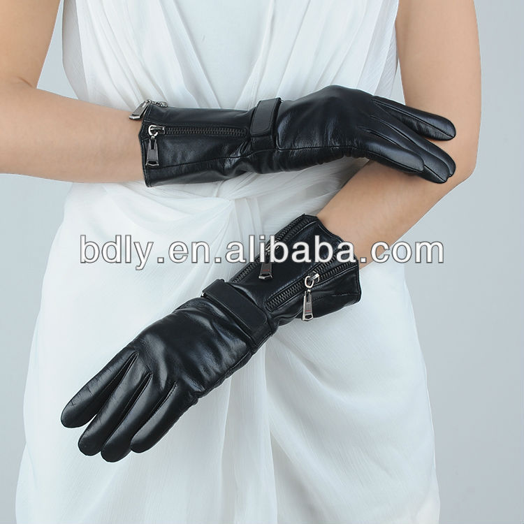 ladies black 100% pure leather gloves with belt on the wrist and zipper on the sleeve