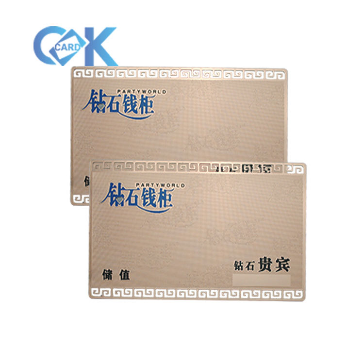 High quality hot sale OEM service rose metal membership card from China