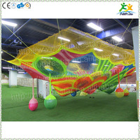 Kids indoor colorful nylon rope hand crocheted net climbing