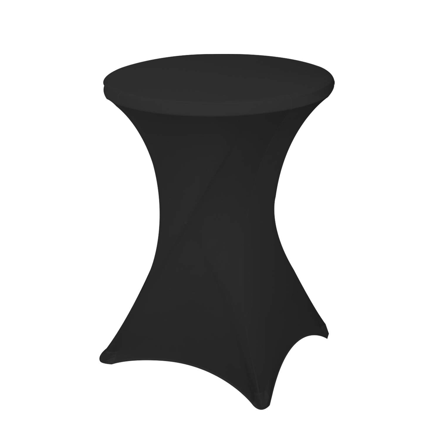 Awillhome 32 Inch /24 Inch Spandex Cocktail Tablecloth Fitted Table Cover Fit Round Folding Table Dry Bar Bistro Table Cover (32inx43in, Black)
