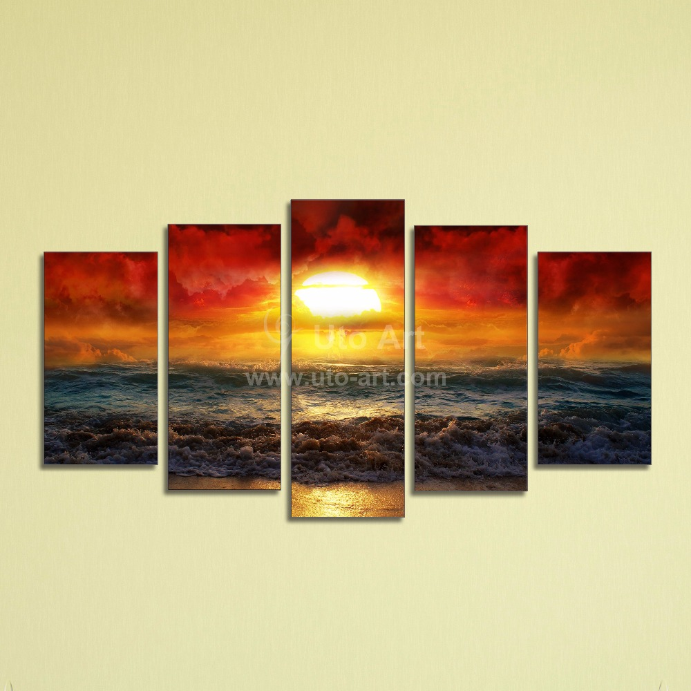 cheap 5 panel wall art painting ocean beach decor canvas prints picture fire kissed water. Black Bedroom Furniture Sets. Home Design Ideas
