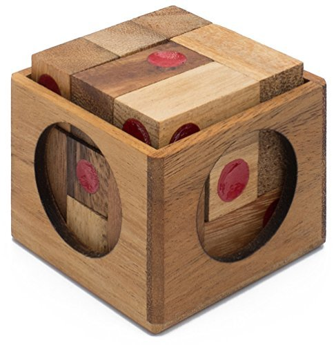 Vegas Baby: Handmade & Organic 3D Brain Teaser Wooden Puzzle for Adults from SiamMandalay with SM Gift Box(Pictured)