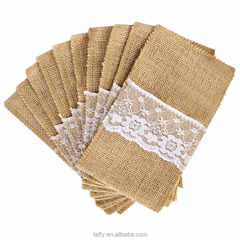 2017 NEW Burlap hessian weding party decor Party Bridal Shower lace Wedding Tableware Favor Utensil Holders Bag Cutlery Pouch