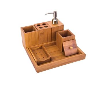 6pcs Bamboo Bathroom Accessory Tray Set with Soap Dispenser, Cotton Ball Box, Toothbrush, Toothpaste Holder