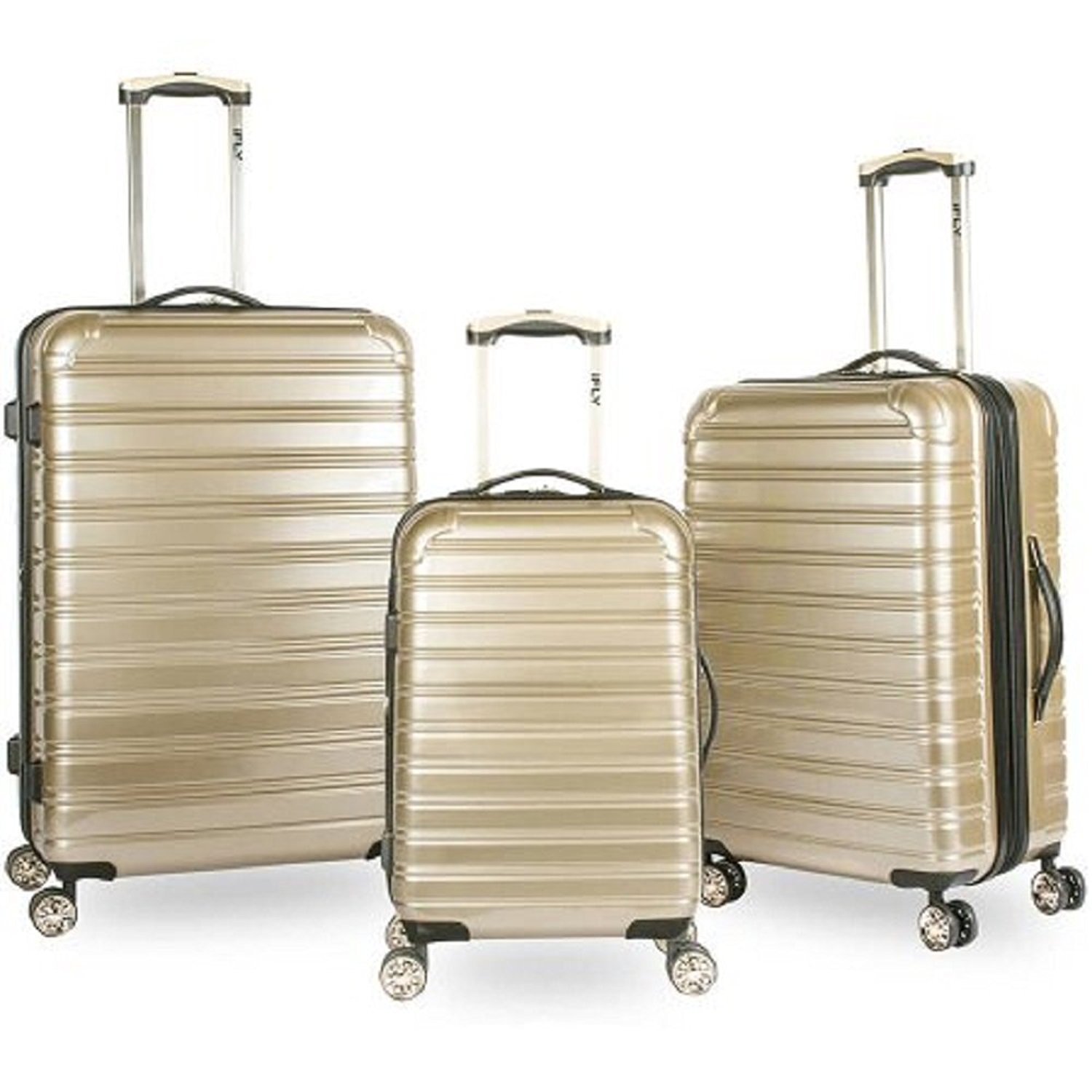 iFLY Hard Sided Fibertech Best Carry On Luggage Bags, Gold, 3 Piece Set