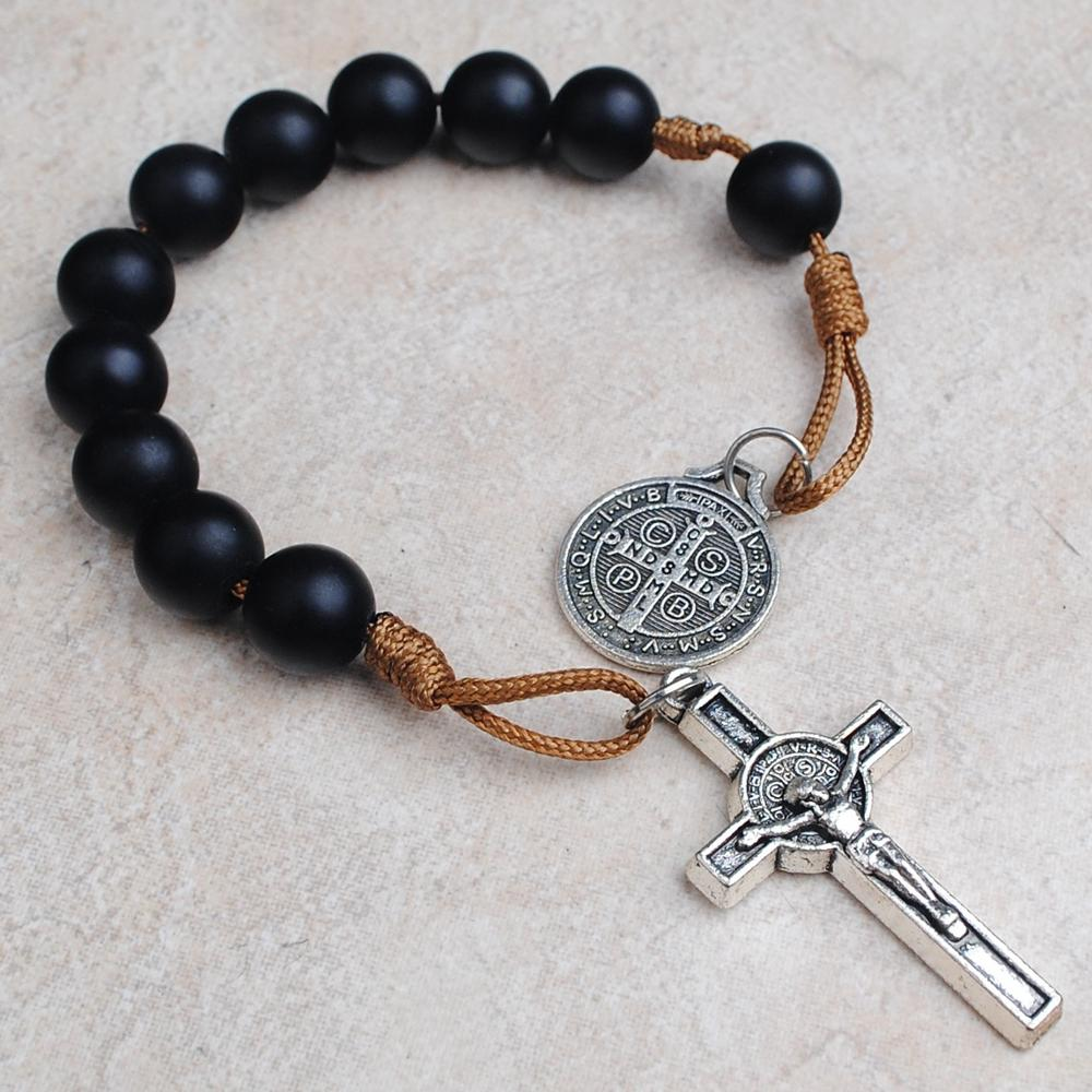 10mm Black Color Glass Beads Pocket Rosary
