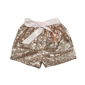 2019 Baby Summer New Model Design Multi Color Baby Girl Sequin Shorts With Bow