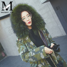 2016 Fashion High Quality Military Removable Real Raccoon Fur Collar Hood Coat Parka Fox Fur Women