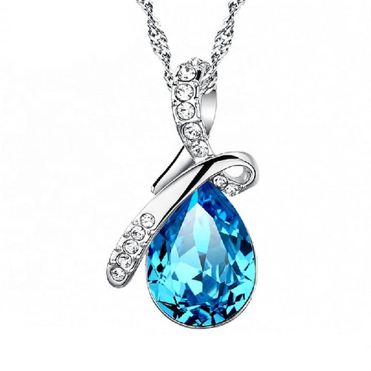 Collier larmes d'anges cristal bleu chaîne de haute qualité bijoux en argent collier fait de yiwu
