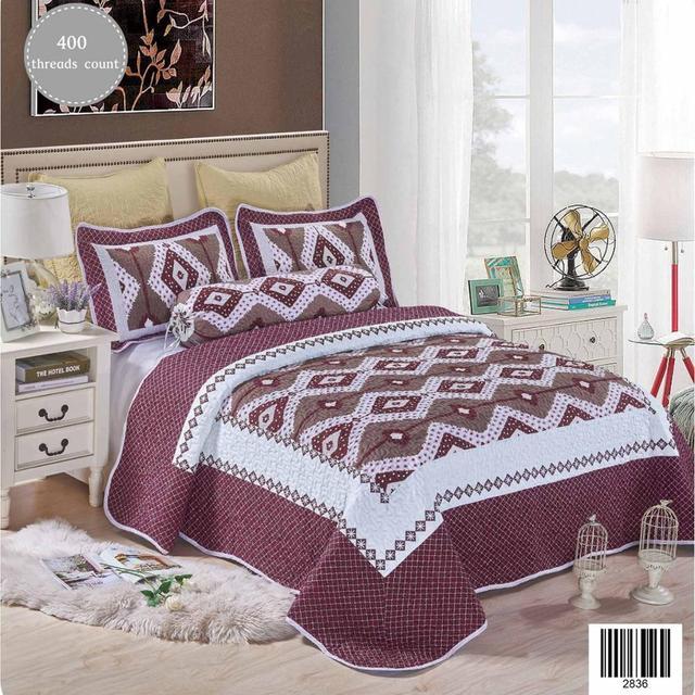 Twilight Lavender Luxury King Size Bed Sheet Set With Rhombus Pattern