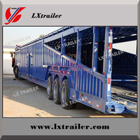 Tri-axle 6-12 units double deck cars carrier trailer
