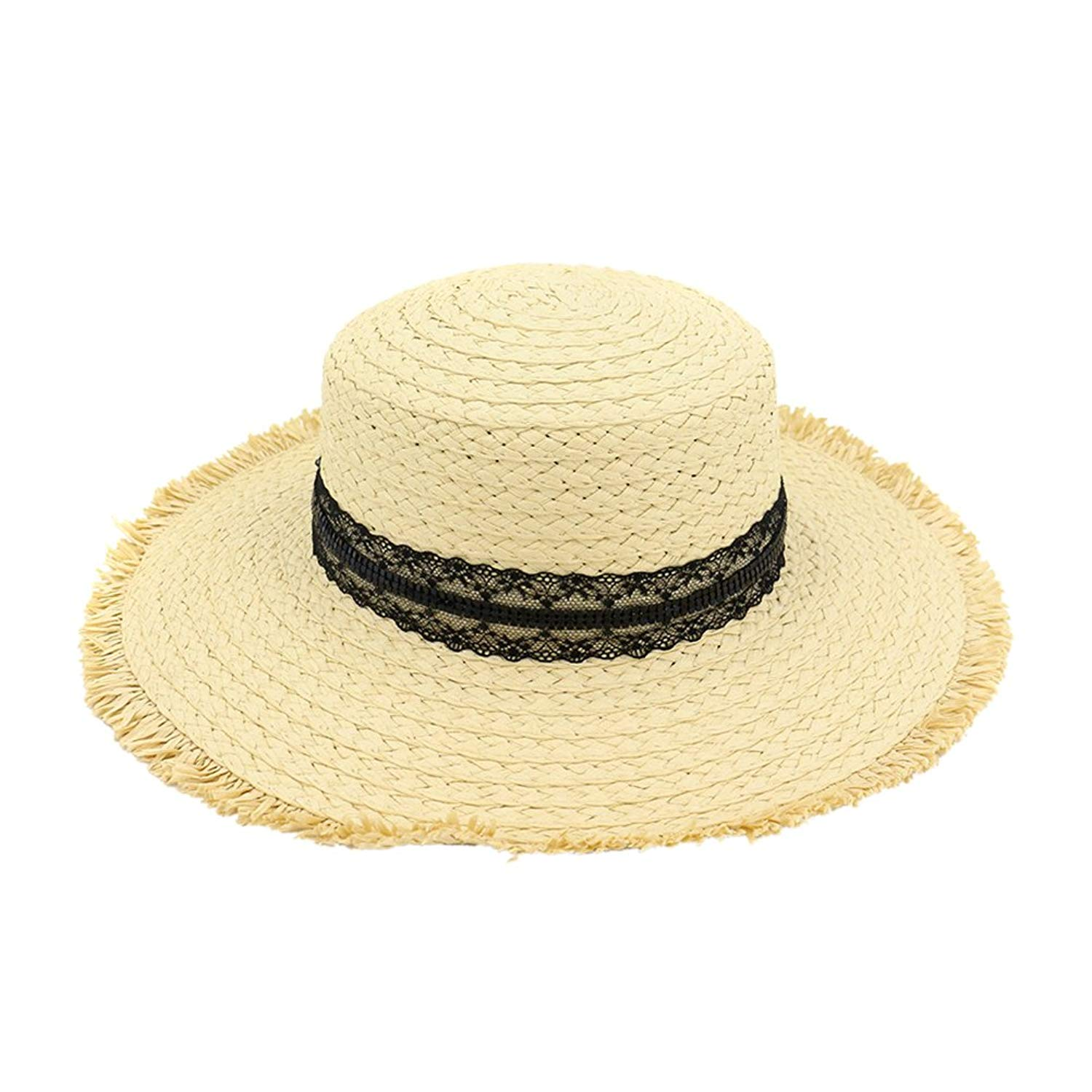 49a32d804964b2 Get Quotations · Zhhlinyuan Straw Boater Hat ladies Sun hat Ribbon Round Flat  Top Sun Protection