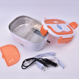 High Grade Safety Electric Food Warmer Storage Lunch Box Stainless Steel Tableware Plastic Outside With Handle For Heating Food