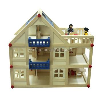 Kayu bermain rumah mainan tiga lantai rumah boneka kayu untuk anak-anak 73bbc0d23f