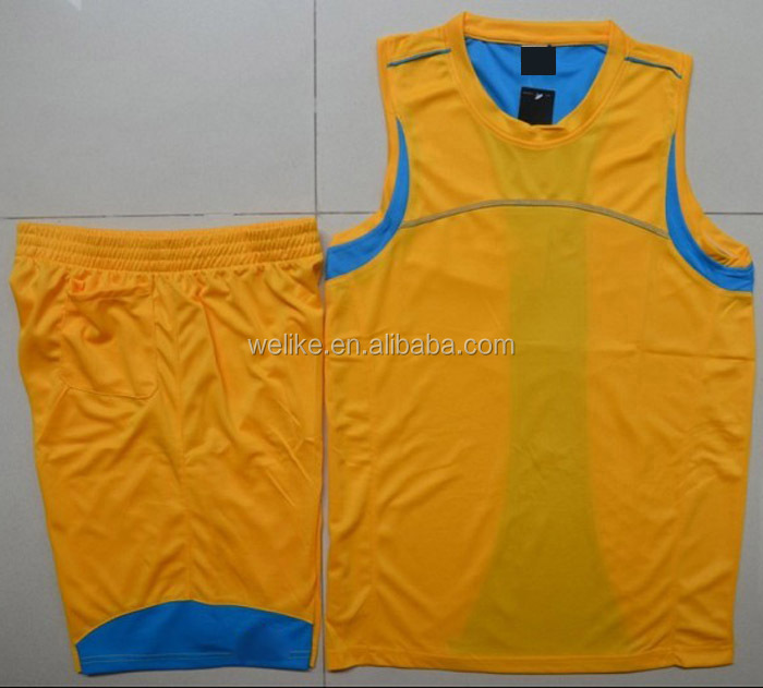 Latest Basketball Jersey Design Yellow And Blue Basketball Wear