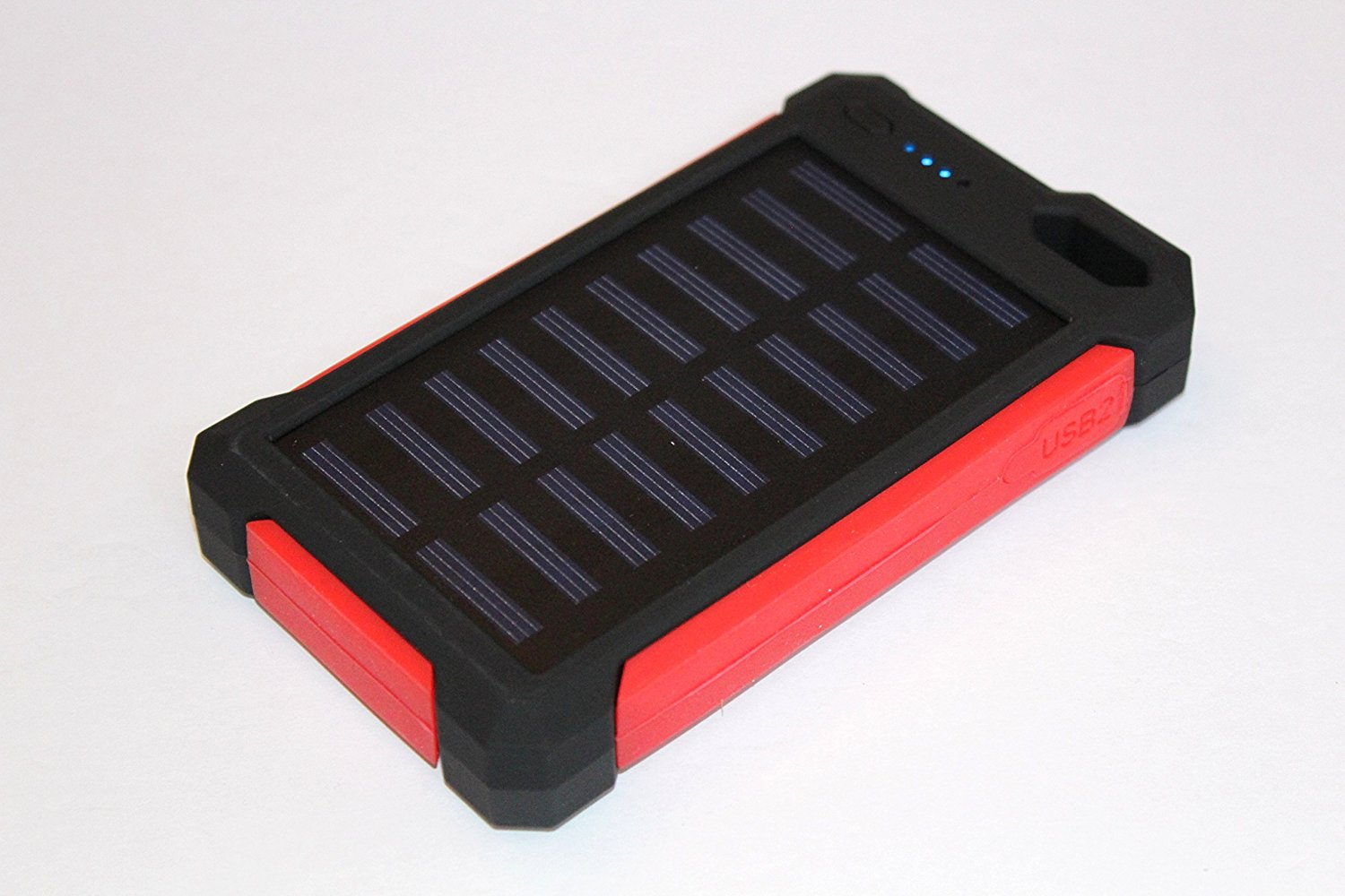 Solar Charger, Portable Solar Power Bank Charger 30000mAh External Backup Battery Pack Dual USB Solar Panel Charger with LED Flashlight for Emergency Outdoor Camping Travel (12 X LEDs (Red))