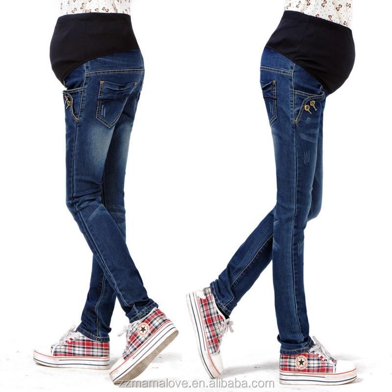 412caa76a Plus tamaño cintura elástica 100% algodón pantalones vaqueros para el embarazo  ropa para mujeres embarazadas