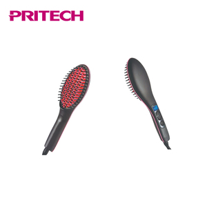 PRITECH Silicone Brush Head LCD Display Ceramic Hair Straightener Brush