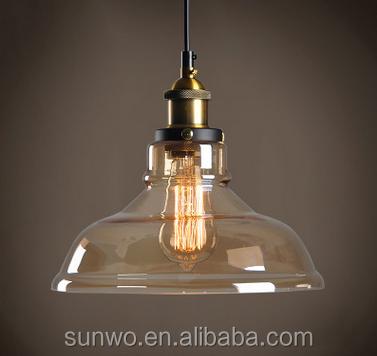Venta al por mayor vidrio de color ámbar de la lámpara de sombra ...
