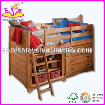 Children Solid Wooden Bed With DrawersLadder And Storage